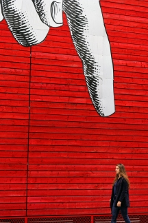 the big cartoon finger on South Bank in London